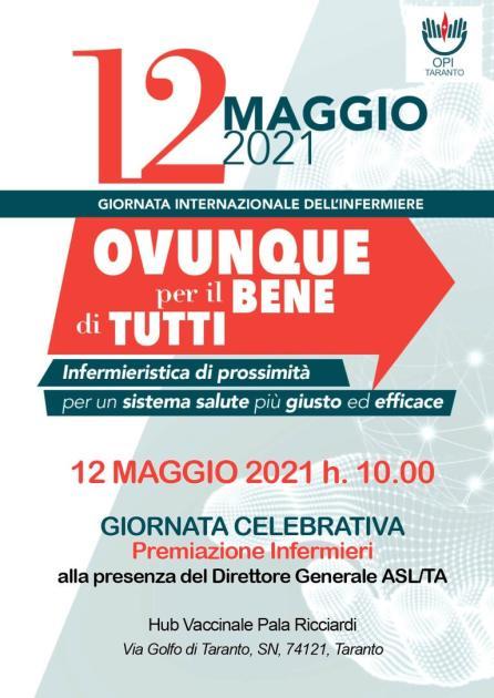 """12 maggio 2021 """"Giornata Internazionale dell'Infermiere"""". Al Pala Ricciardi di Taranto cerimonia di ringraziamento"""