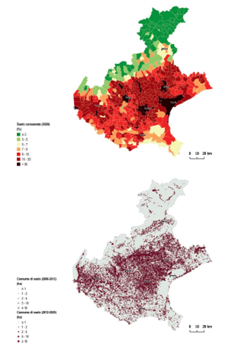 Rapporto Ispra: «Treviso quarto comune del Veneto per consumo di suolo»