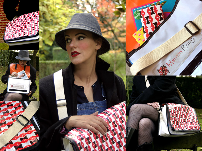 Besaces en bâches faites à partir de matériaux recyclés. Motif créé spécialement pour Marron Rouge par Mademoiselle Dimanche.