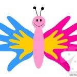 Farfalla con le sagome delle mani