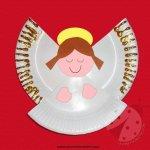 Lavoretti Natale Angelo con piatto di carta