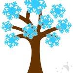 Cartellone Inverno – Albero con fiocchi di neve