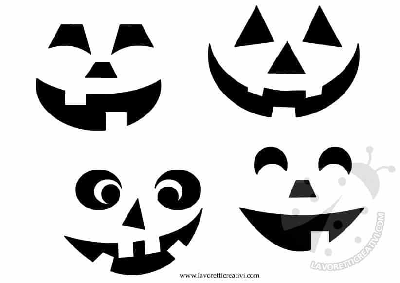 4 cartamodelli per intagliare una zucca di halloween for Disegni di zucche