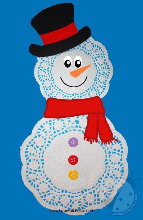 Pupazzo di neve con centrini di carta  Lavoretti Creativi
