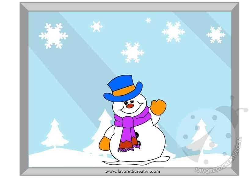 Decorazione invernale per finestra con pupazzo di neve