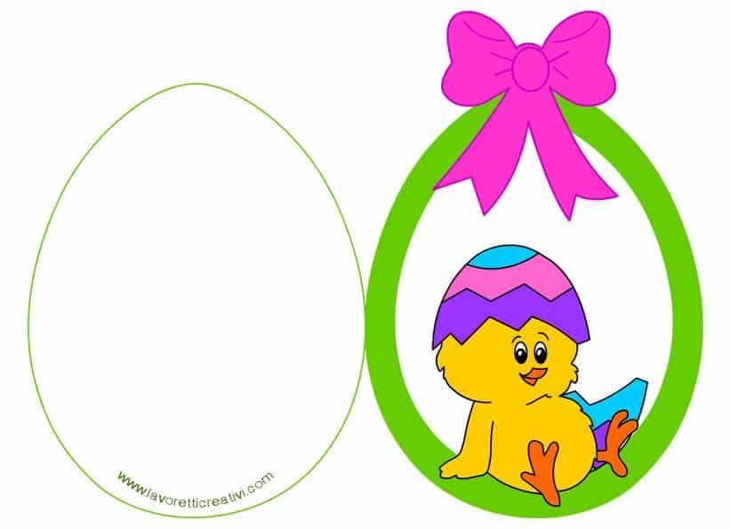 Biglietto di auguri per Pasqua uovo con pulcino
