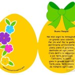 Biglietto a forma di uovo con filastrocca Buona Pasqua
