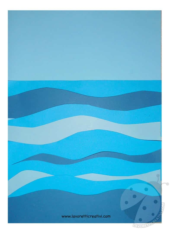 Paesaggio marino con barca di carta  Lavoretti Creativi