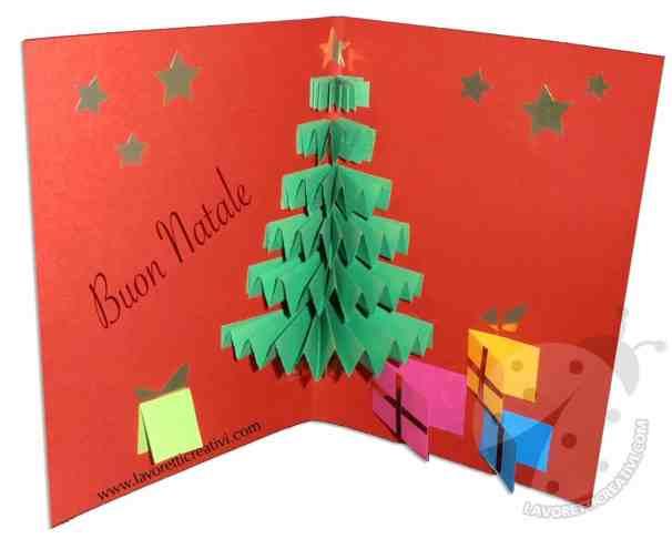 Biglietto pop up natalizio con albero
