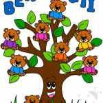 Cartello benvenuti con albero e orsetti