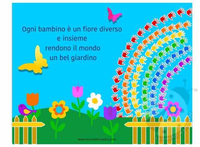 Cartelloni scuola primaria e dell 39 infanzia giardino con fiori for Cartelloni scuola infanzia