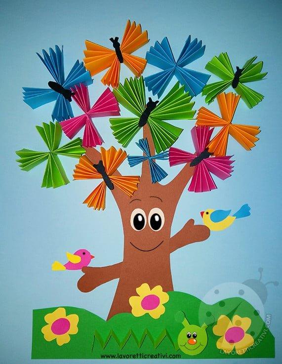 Addobbi aula scuola albero con farfalle a fisarmonica for Addobbi autunno scuola infanzia