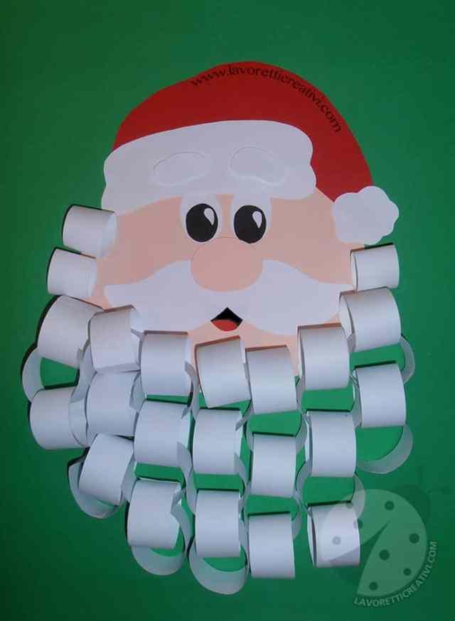 Babbo Natale con barba realizzata da catene di carta