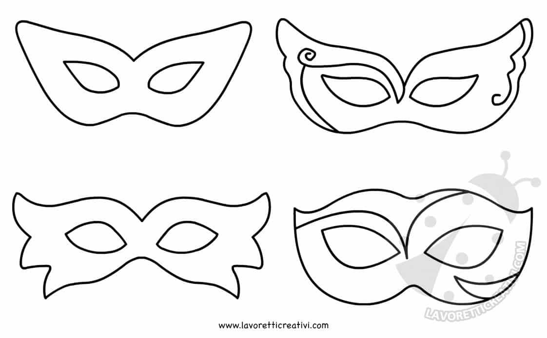 Maschere di Carnevale per bambini da colorare e ritagliare