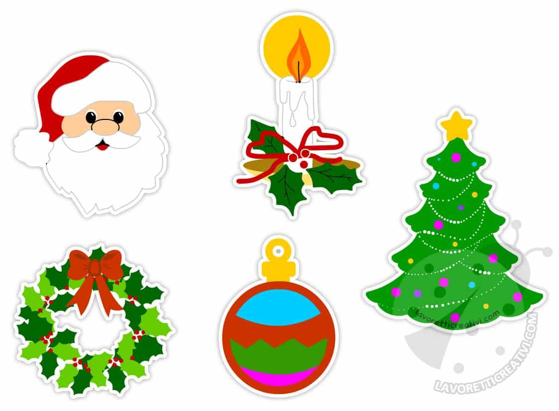 Disegni di Natale colorati per addobbi da ritagliare