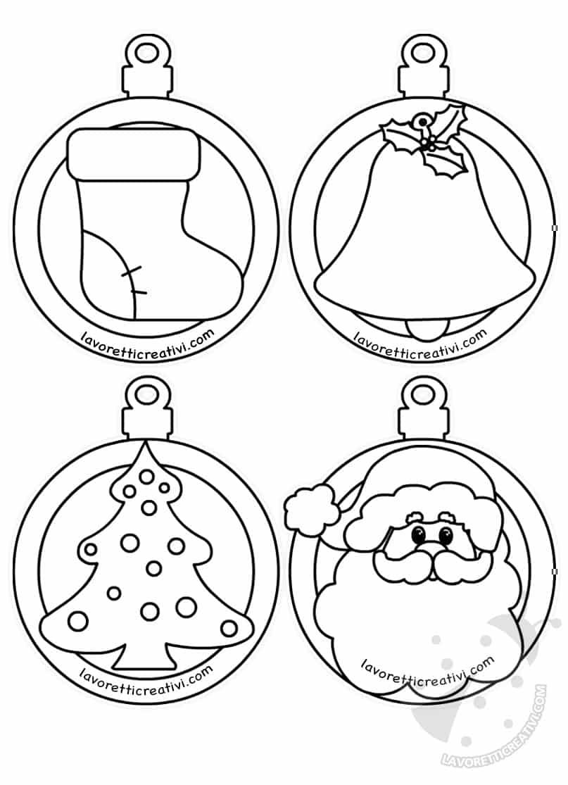Palline Di Natale Di Carta Con Disegni Da Colorare
