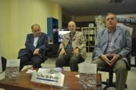 José María Rubio, Rafael Portillo y Enrique Sánchez durante la presentación del libro de Portillo 'Alcalá, en torno a 1950. Memorias de un niño de la época' / Francisco Segura