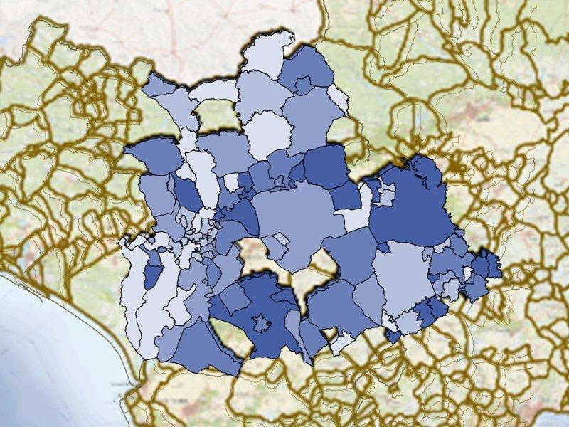 Mapa de la Incidencia acumulada del COVID-19 en los municipios de Sevilla