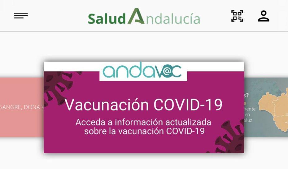 Captura de la aplicación Salud Andalucía donde puede accederse al certificado