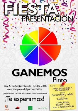 Imagen del cartel promocional de la fiesta de Ganemos Pinto