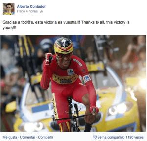 A través de su página oficial, Alberto Contador ha agradecido su victoria