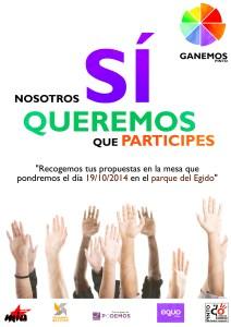 Cartel promocional de la recogida de propuestas ciudadanas de Ganemos Pinto