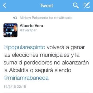 Tuit del concejal Alberto Vera