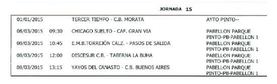 Horarios Baloncesto. Jornada 15. Fuente: Ayuntamiento de Pinto.