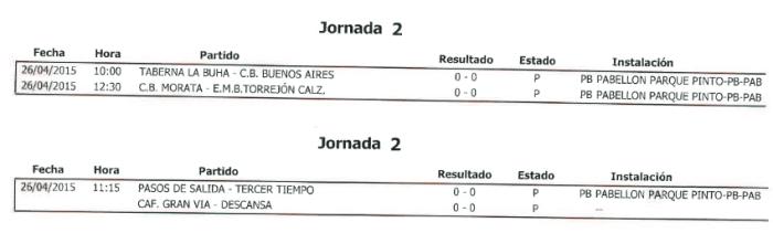Horarios Baloncesto. Semana del 20 al 26 de abril. Fuente: Ayuntamiento de Pinto.