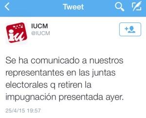 Tuit publicado por Izquierda Unida Comunidad de Madrid