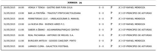 Horarios Fútbol 11. Semana del 25 al 31 de junio. Fuente: Ayuntamiento de Pinto.