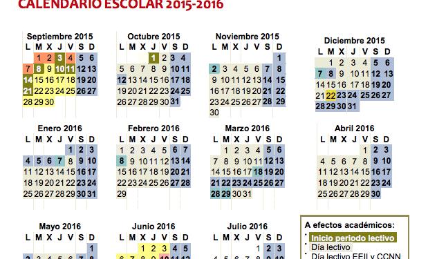 Calendario Escolar del curso 2015-2016