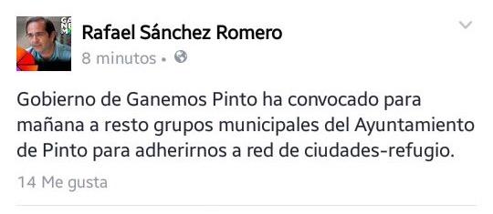 Pinto solicitará adherirse a la red de ciudades refugio