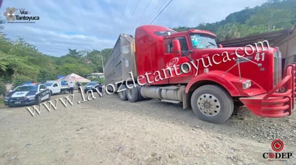 Trailero provoca tráfico vehicular y daña señalética en Tantoyuca   LVDT