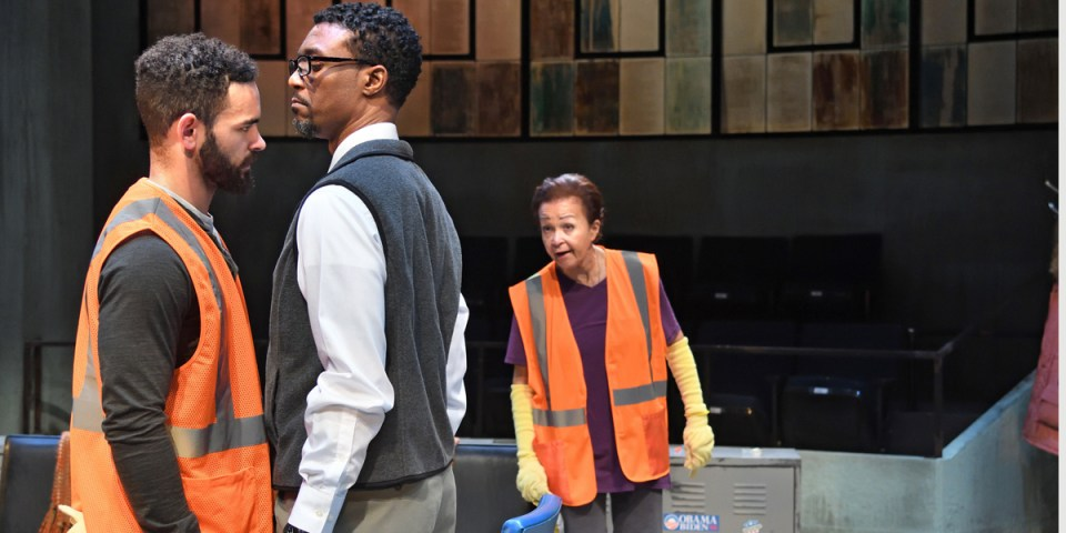 Will Adams, Jude Sandy and Lizan Mitchell in Dominique Morriseau's Skeleton Crew at Trinity Rep