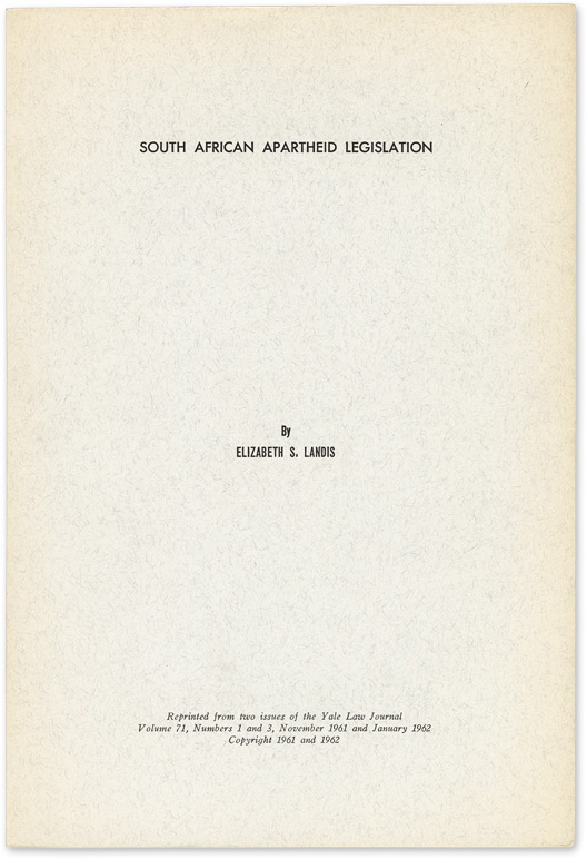 South African Apartheid Legislation   Elizabeth S. Landis