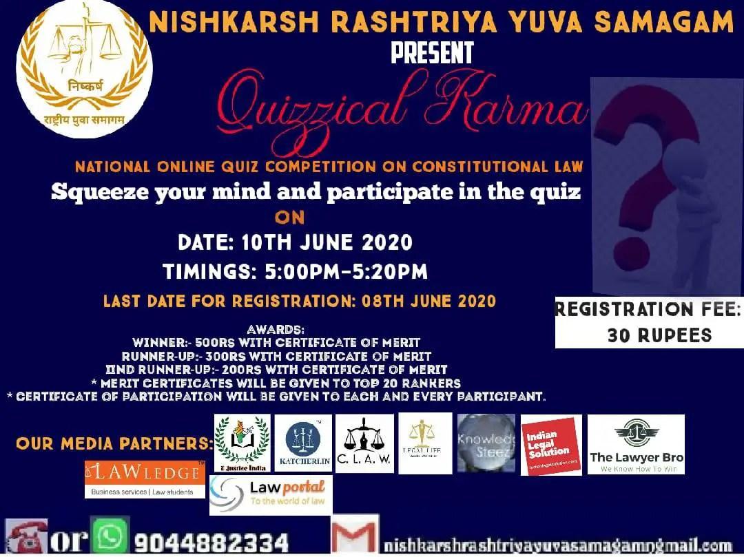 Quizzical Karma National Constitutional Quiz Competition by Nishkarsh Rashtriya Yuva Samagam