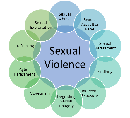 Sexual Violence against women comprises of but not limited to the acts of Sexual Assault or rape, Sexual Abuse, Sexual Exploitation, Trafficking, Cyber Harassment, Voyeurism, Degrading Sexual Imagery, Indecent Exposure, Stalking & Sexual Harassment.