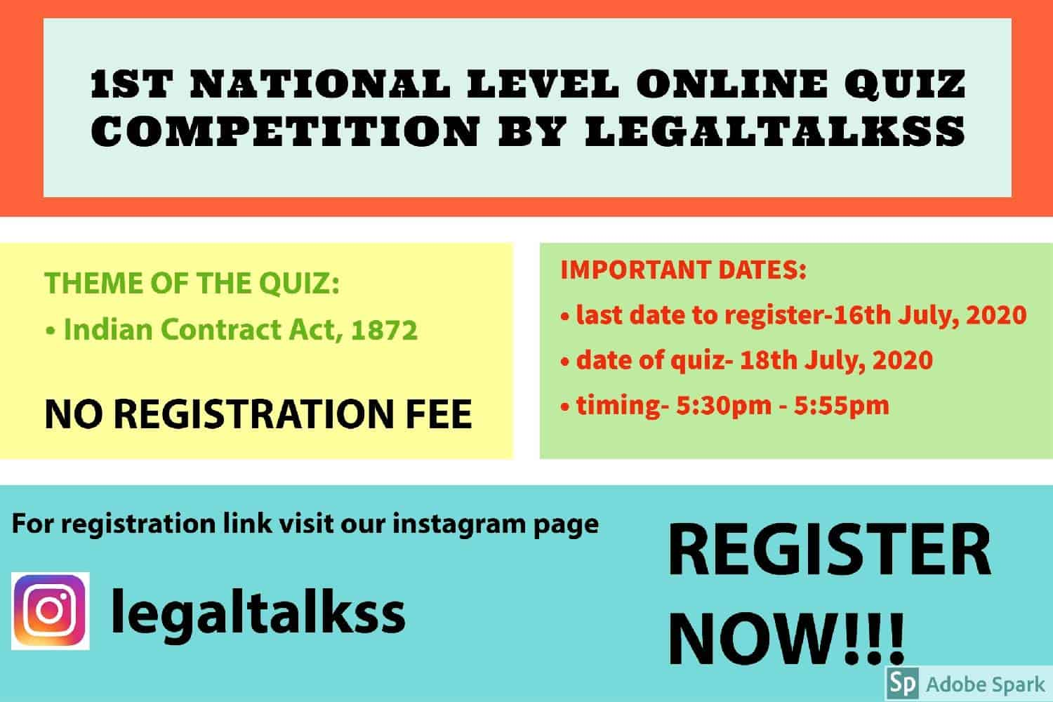 1ST NATIONAL LEVEL ONLINE QUIZ COMPETITION ON CONTRACT LAW BY LEGALTALKSS - NO REGISTRATION FEE- REGISTER BY JULY 16