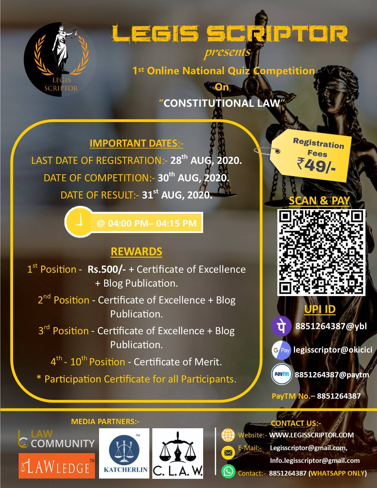 Legis Scriptor's First Online National Law Quiz Competition