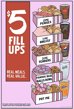 """""""$5 FILL UPS, it's finger lickin' good, part 2"""" by Moy Young; Credit: Courtesy of Art Share L.A."""