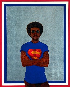 Barkley L. Hendricks, Icon for My Man Superman (Superman Never Saved Any Black People — Bobby Seale), 1969. Oil, acrylic and aluminum leaf on linen canvas. © Estate of Barkley L. Hendricks. Courtesy of the artist's estate and Jack Shainman Gallery, New York; Credit: Courtesy of the Broad