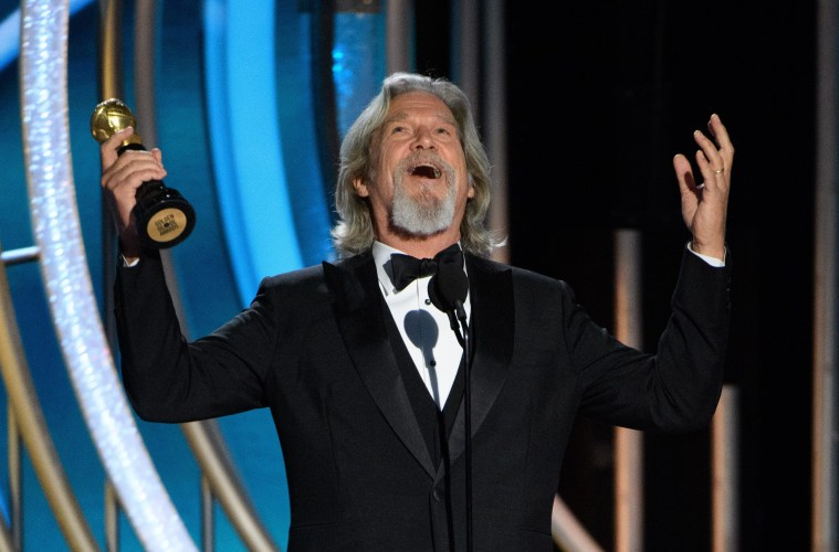 Jeff Bridges accepts the Cecil B. DeMille Award.; Credit: Courtesy HFPA