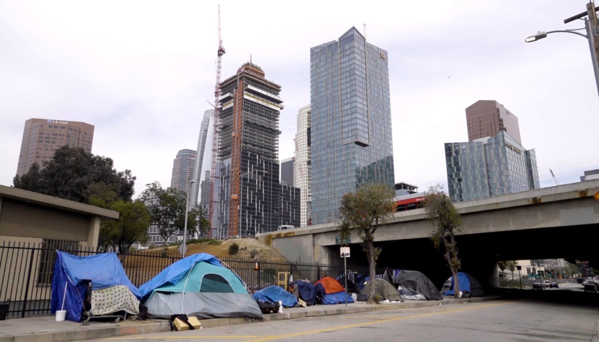 Homeless encampment on Beaudry Street downtown; Credit: ©Cinema Libre Studio