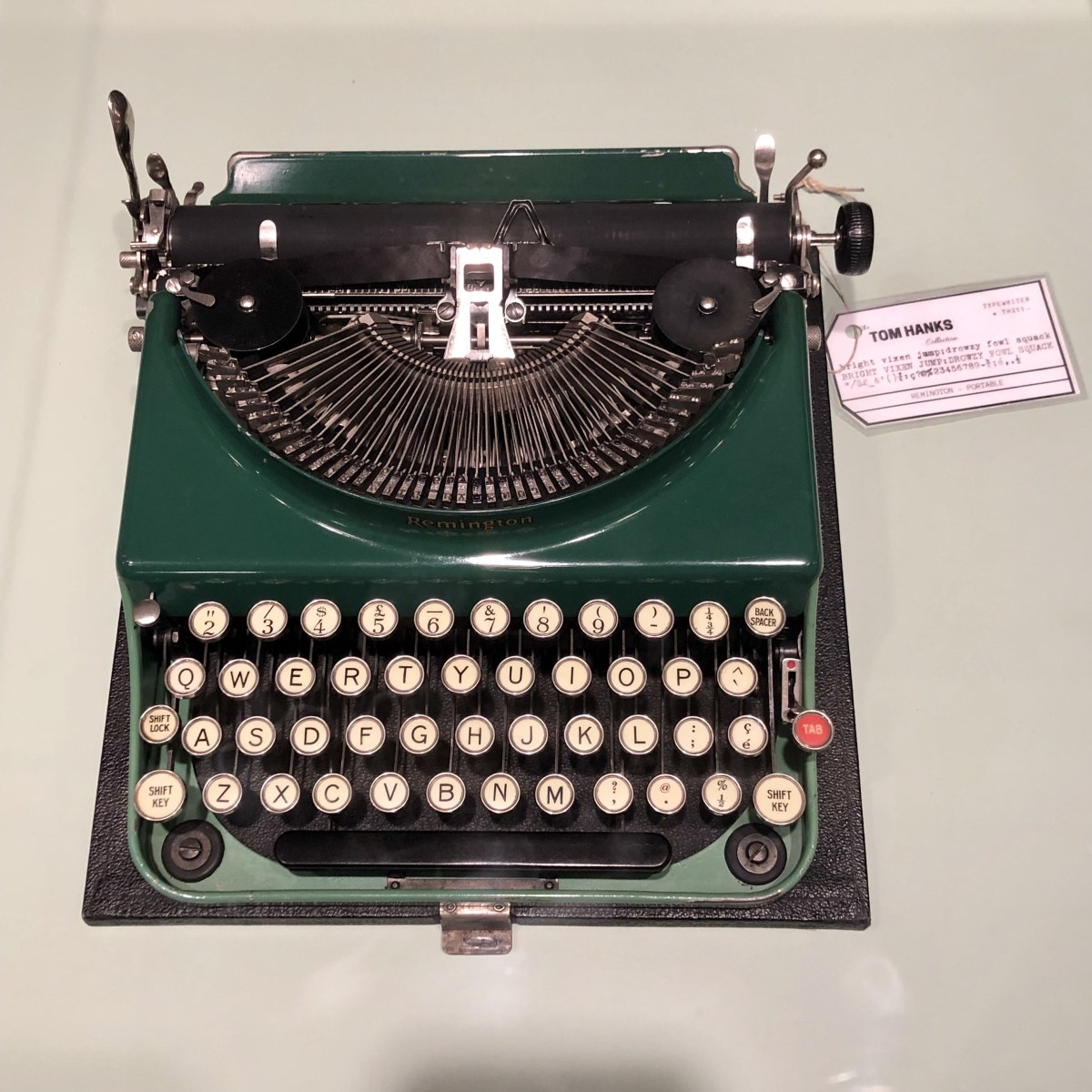 A typewriter from Tom Hanks' collection; Credit: Shana Nys Dambrot