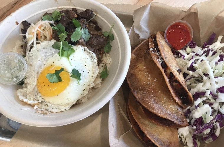 Tapsilog rice bowl and crunchy shrimp tacos at Ord  Credit: Michele Stueven