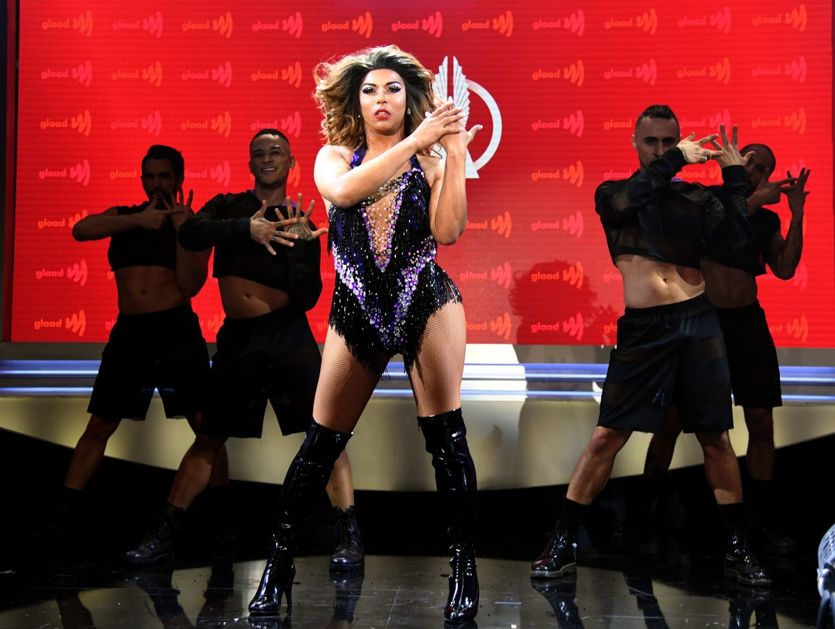 Shangela performs onstage at the 30th annual GLAAD Media Awards, Los Angeles, at the Beverly Hilton Hotel.; Credit: Kevin Mazur/Getty Images for GLAAD