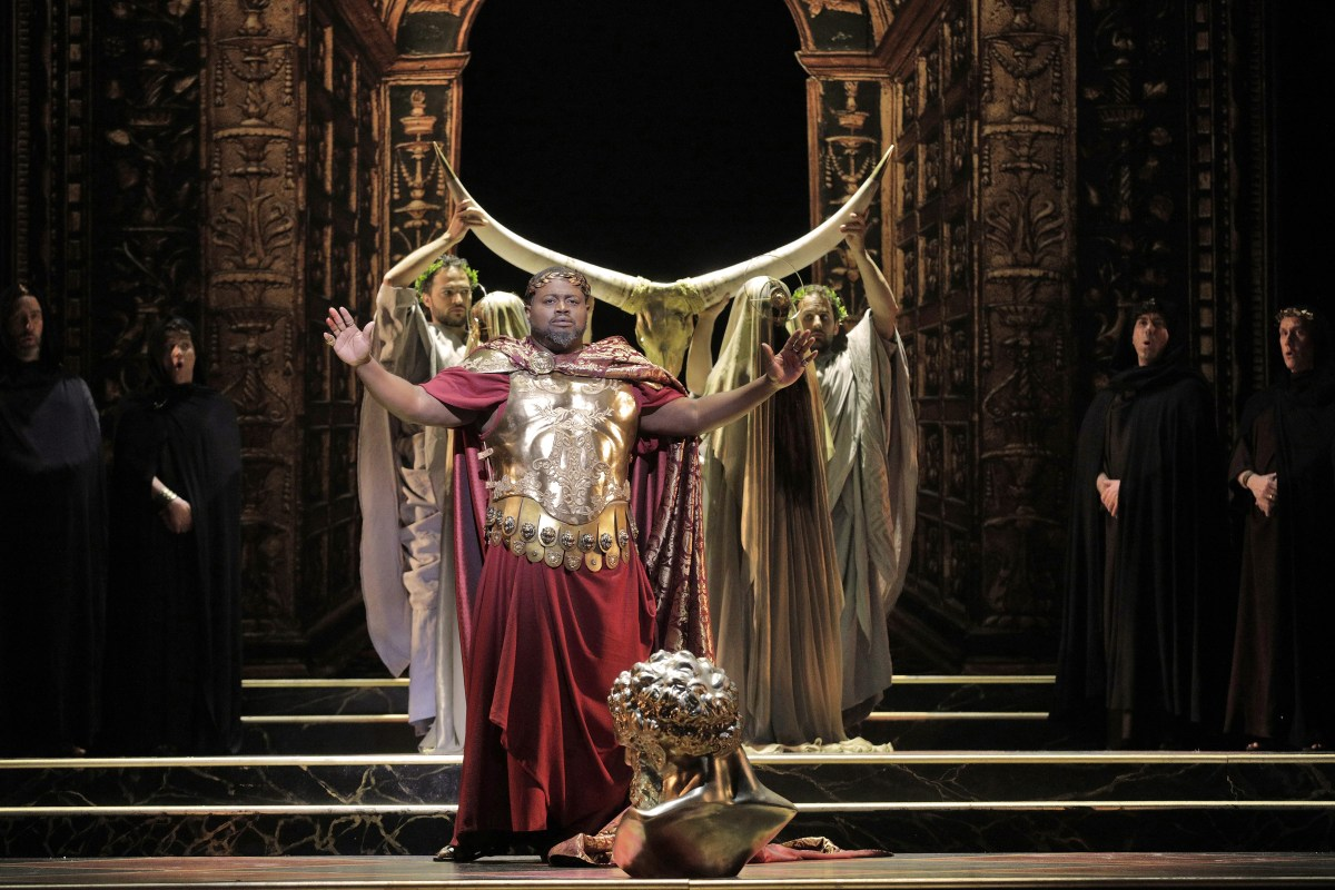 Russell Thomas as Emperor Titus in <i>The Clemency of TItus</i>; Credit: Cory Weaver/L.A. Opera