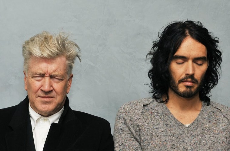 David Lynch and Russell Brand meditating; Credit: TM.com