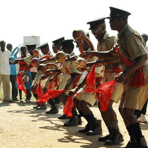 Tumbuka men dancing the Malipenga